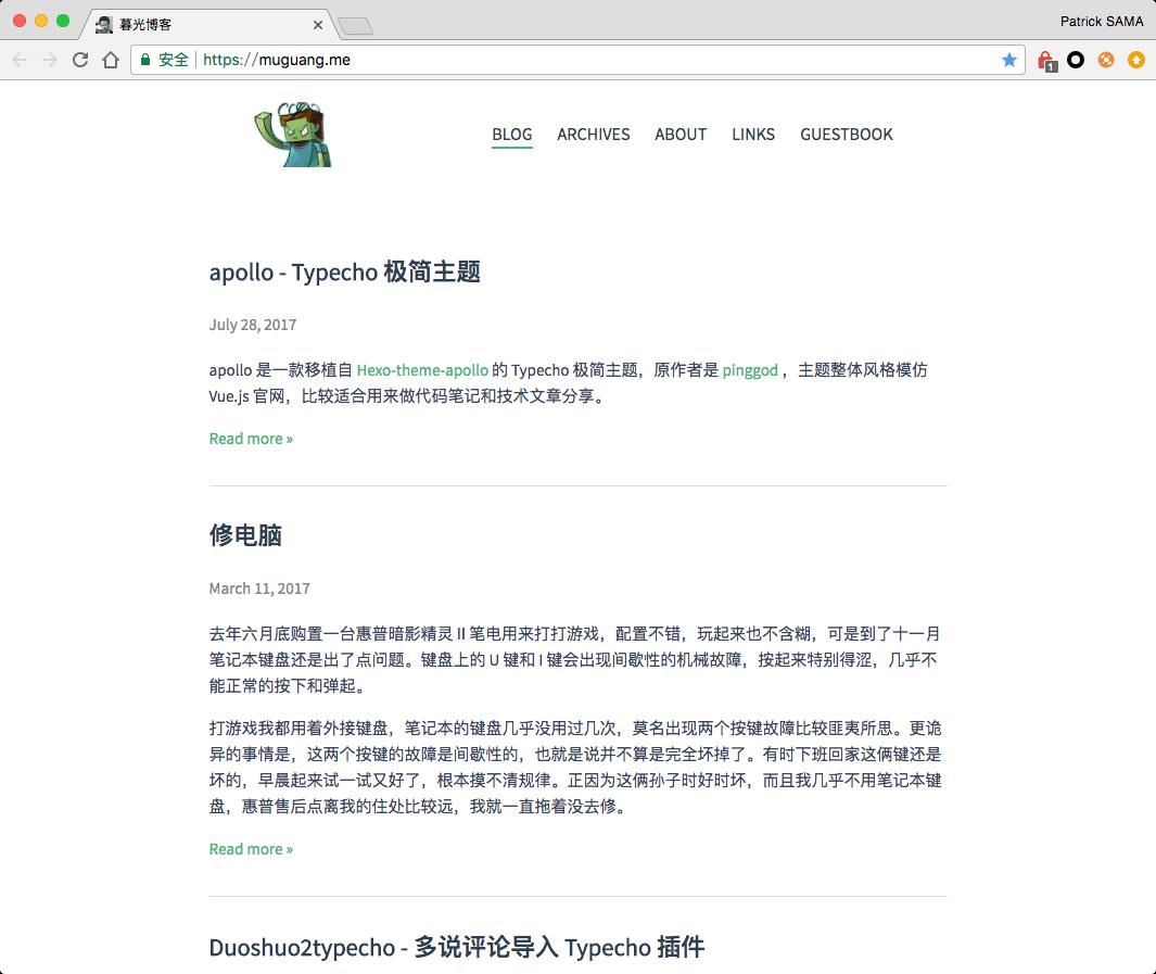 Typecho 极简主题 Apollo