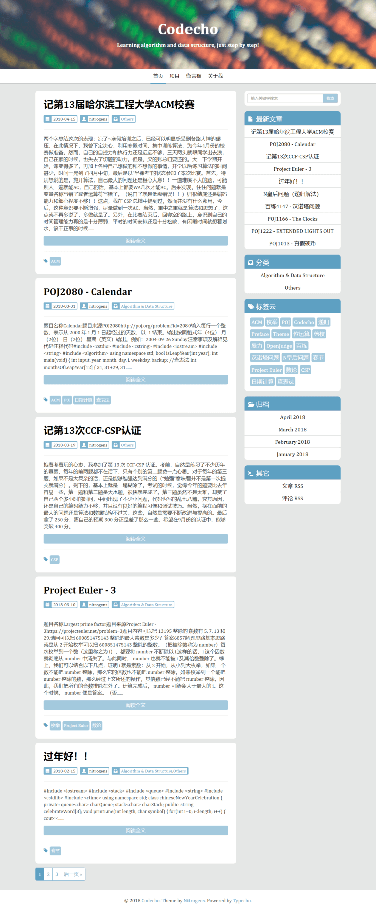 Typecho 一款大字体的博客主题 CodingLife