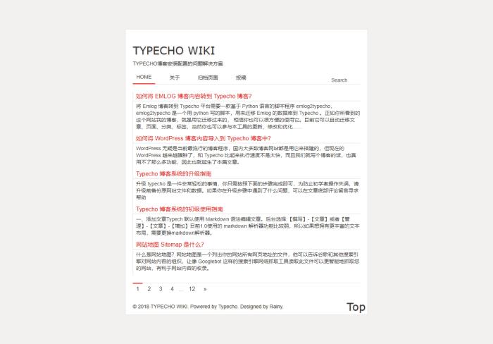 Typecho 极简单栏博客主题 Simple